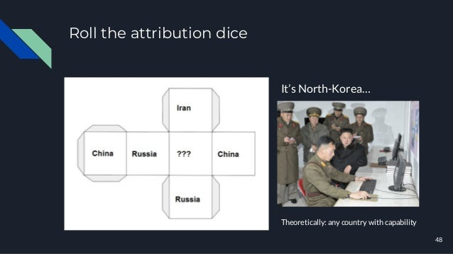 Roll the attribution dice 48 It's North-Korea… Theoretically: any country with capability