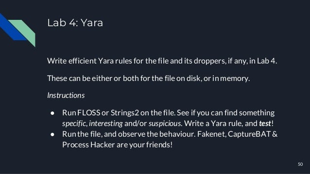 Lab 4: Yara Write efficient Yara rules for the file and its droppers, if any, in Lab 4. These can be either or both for th...