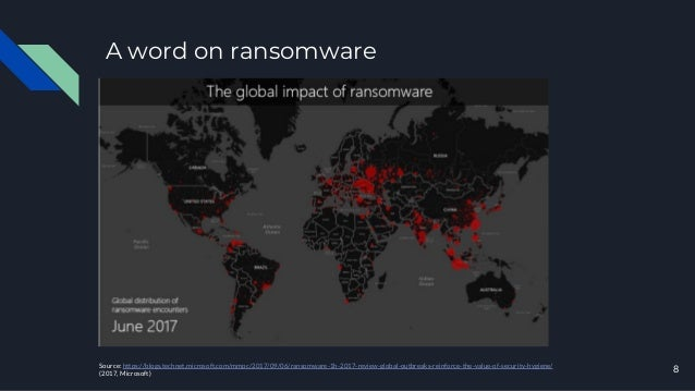 A word on ransomware Source: https://blogs.technet.microsoft.com/mmpc/2017/09/06/ransomware-1h-2017-review-global-outbreak...