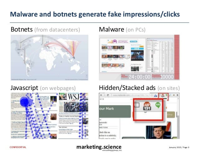 January 2015 / Page 0marketing.scienceconsulting group, inc. CONFIDENTIAL Malware and botnets generate fake impressions/cl...