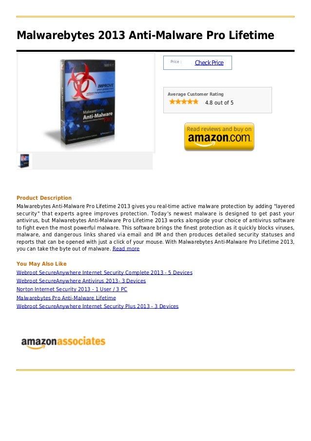 Malwarebytes 2013 Anti-Malware Pro Lifetime                                                              Price :          ...