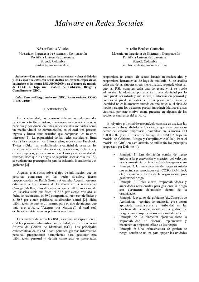 Malware en Redes Sociales                  Néstor Santos Vidales                                                Aurelio Be...