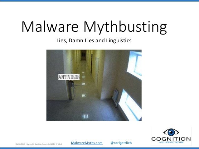 MalwareMyths.com @carlgottlieb Malware Mythbusting Lies, Damn Lies and Linguistics 08/06/2016 - Copyright Cognition Secure...