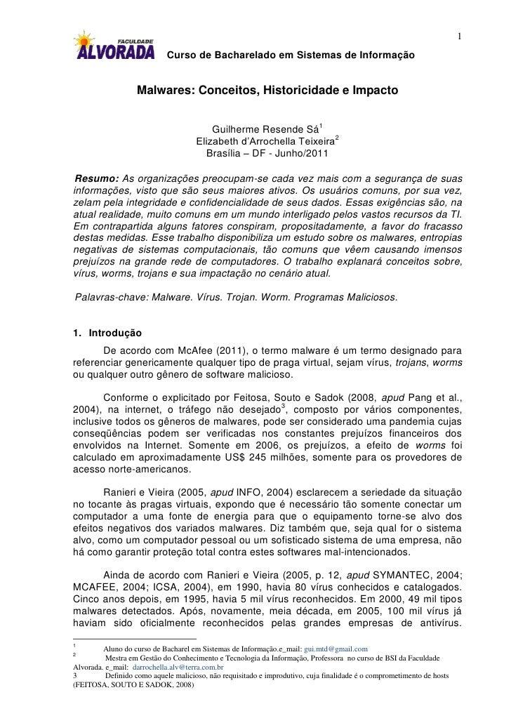 1                             Curso de Bacharelado em Sistemas de Informação                   Malwares: Conceitos, Histor...