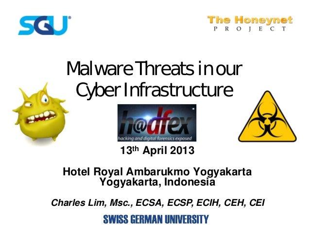 Malware Threats in our    Cyber Infrastructure              13th April 2013  Hotel Royal Ambarukmo Yogyakarta         Yogy...