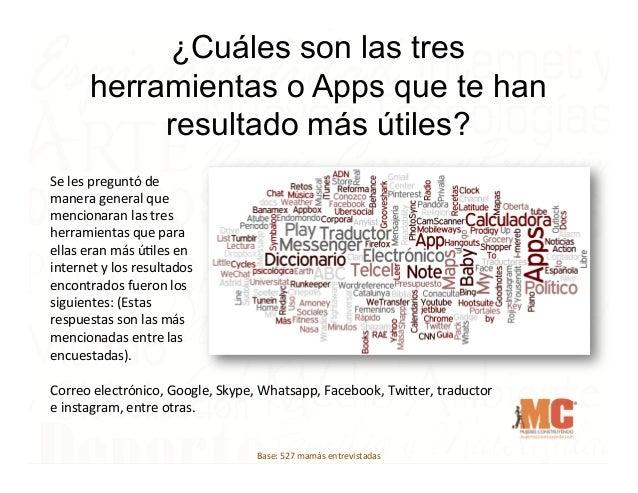 ¿Cuáles son las tres herramientas o Apps que te han resultado más útiles? Se  les  preguntó  de   manera  genera...