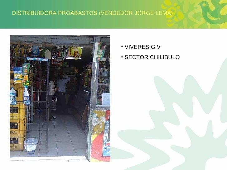 DISTRIBUIDORA PROABASTOS (VENDEDOR JORGE LEMA) <ul><li>VIVERES G V </li></ul><ul><li>SECTOR CHILIBULO </li></ul>