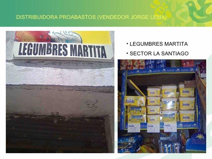 DISTRIBUIDORA PROABASTOS (VENDEDOR JORGE LEMA) <ul><li>LEGUMBRES MARTITA </li></ul><ul><li>SECTOR LA SANTIAGO </li></ul>