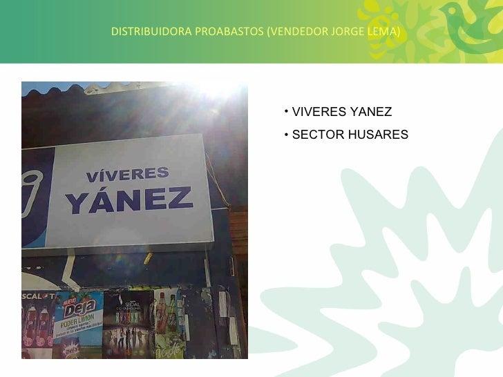 DISTRIBUIDORA PROABASTOS (VENDEDOR JORGE LEMA) <ul><li>VIVERES YANEZ </li></ul><ul><li>SECTOR HUSARES </li></ul>