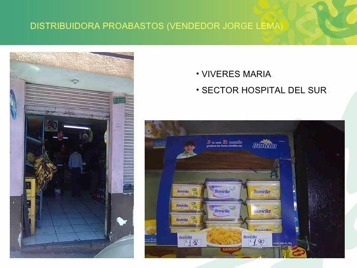 DISTRIBUIDORA PROABASTOS (VENDEDOR JORGE LEMA) <ul><li>VIVERES MARIA </li></ul><ul><li>SECTOR HOSPITAL DEL SUR </li></ul>