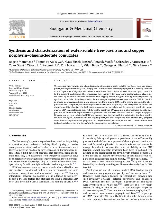 Synthesis and characterization of water-soluble free-base, zinc and copperporphyrin–oligonucleotide conjugatesAngela Mamma...