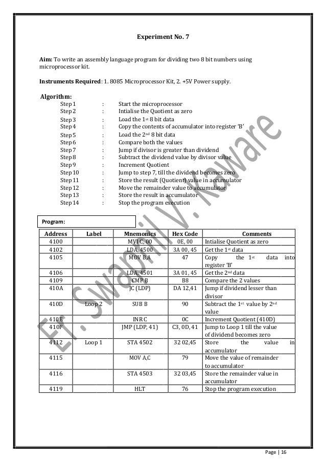 microprocessor lab manual by er  swapnil v  kaware