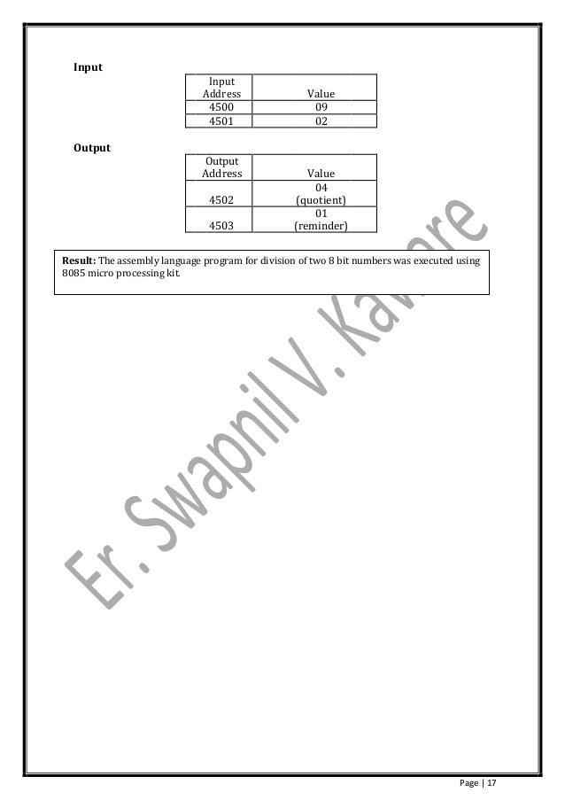 Microprocessor Lab Manual by Er. Swapnil V. Kaware