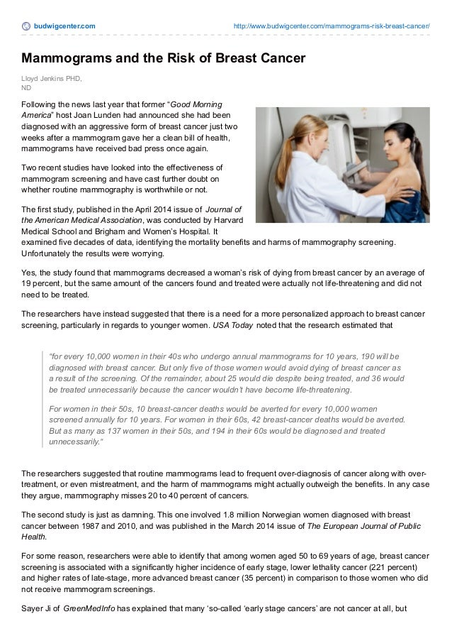 Mammograms And The Risk Of Breast Cancer