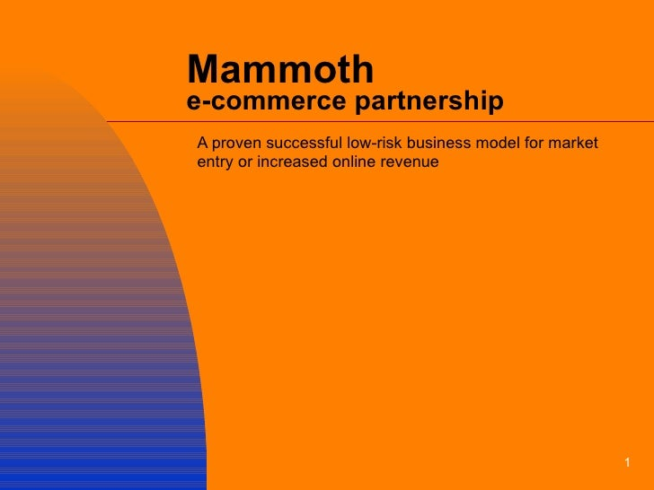 Mammoth  e-commerce partnership A proven successful low-risk business model for market entry or increased online revenue