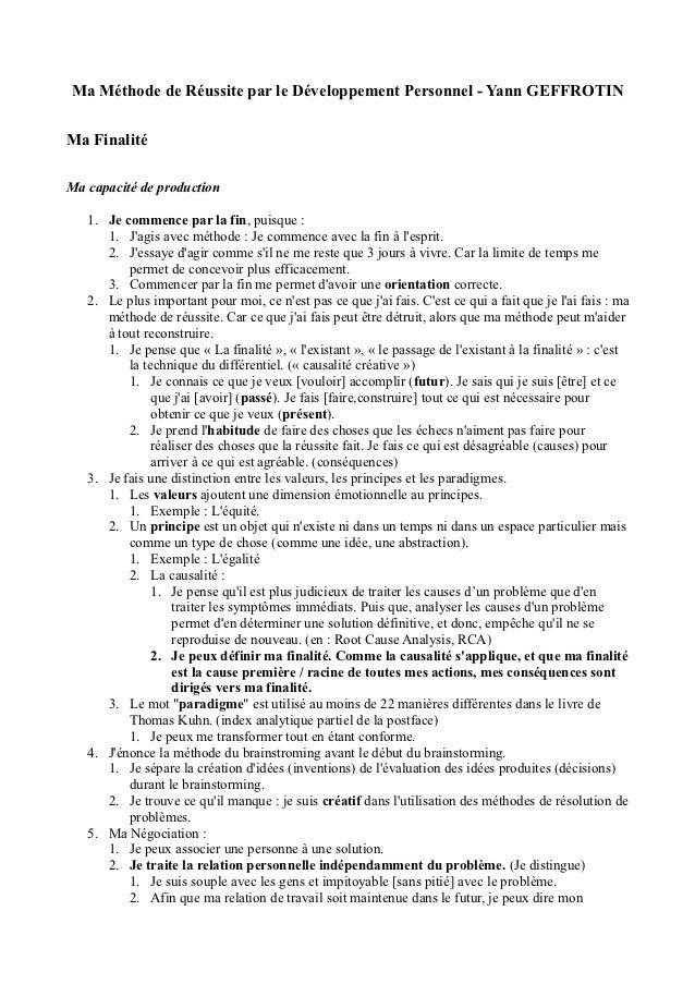 Ma Méthode de Réussite par le Développement Personnel - Yann GEFFROTINMa FinalitéMa capacité de production   1. Je commenc...
