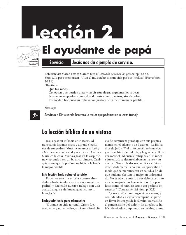 Manual Infantes | Escuela Sabática 2015 | Primer trimestre 2015 | Man…