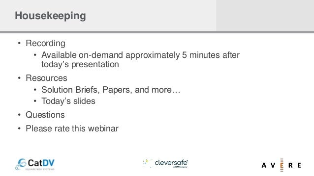 Housekeeping • Recording • Available on-demand approximately 5 minutes after today's presentation • Resources • Solution B...