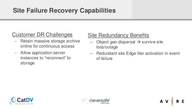 Site Redundancy Benefits – Object geo-dispersal  survive site loss/outage – Redundant site Edge filer activation in event...