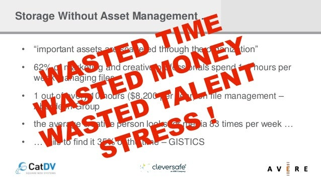 """Storage Without Asset Management … • """"important assets are scattered through the organization"""" • 62% of marketing and crea..."""