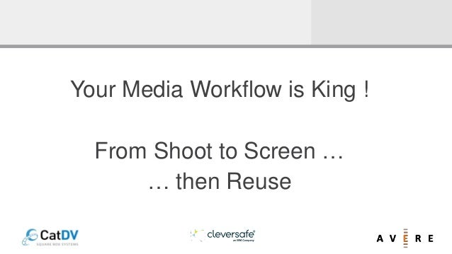 Your Media Workflow is King ! From Shoot to Screen … … then Reuse