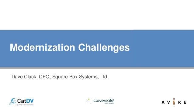 Modernization Challenges Dave Clack, CEO, Square Box Systems, Ltd.