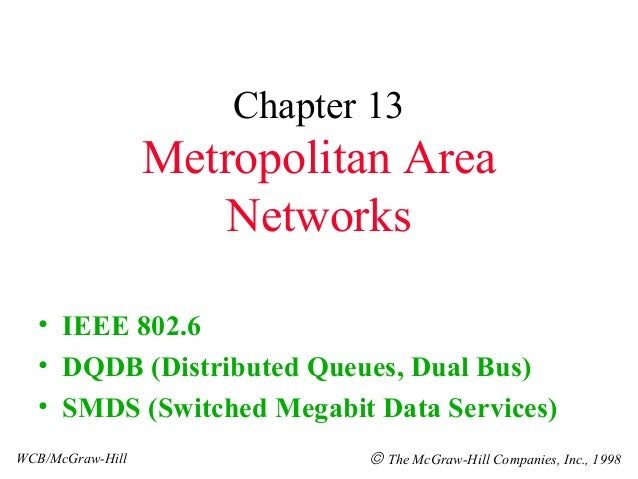 Chapter 13                  Metropolitan Area                     Networks  • IEEE 802.6  • DQDB (Distributed Queues, Dual...