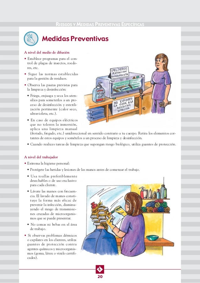 Manual de seguridad y salud en peluquerias for Organizacion y limpieza del equipo de trabajo en la cocina