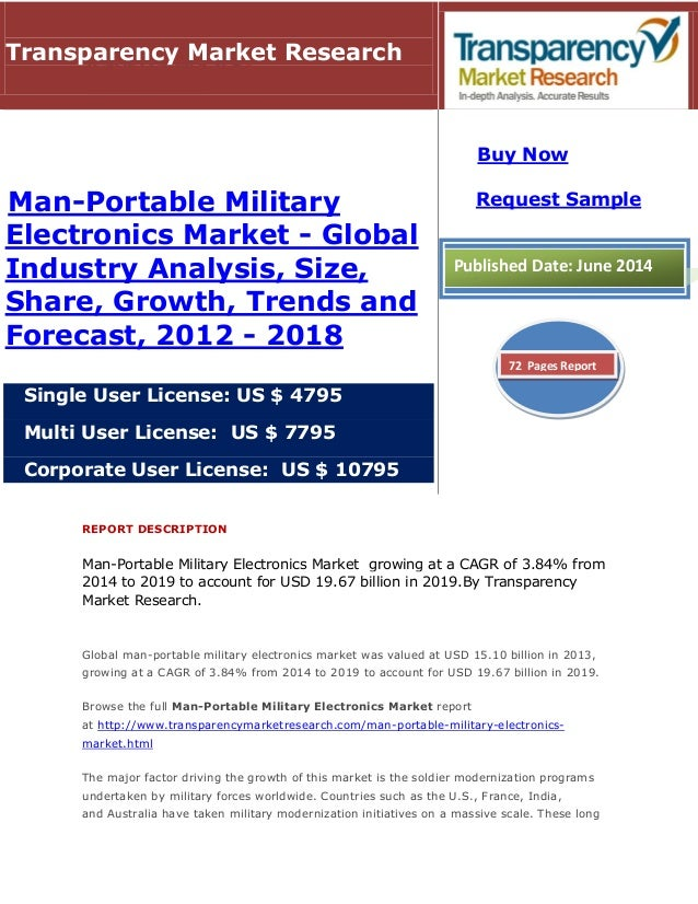 REPORT DESCRIPTION Man-Portable Military Electronics Market growing at a CAGR of 3.84% from 2014 to 2019 to account for US...