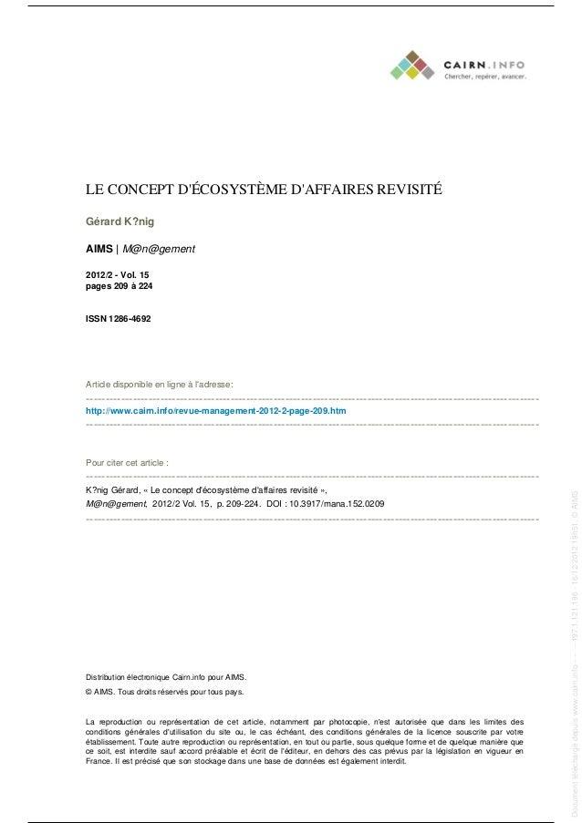 LE CONCEPT D'ÉCOSYSTÈME D'AFFAIRES REVISITÉ Gérard K?nig AIMS | M@n@gement 2012/2 - Vol. 15 pages 209 à 224 ISSN 1286-4692...