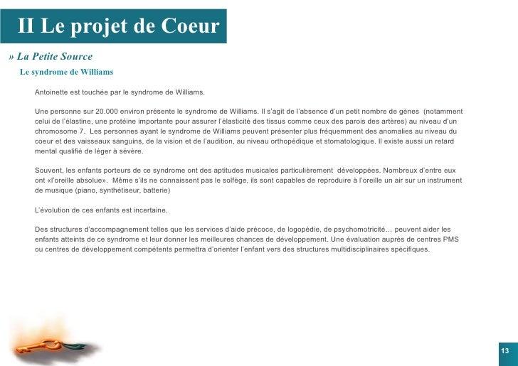 II Le projet de Coeur » La Petite Source   Le syndrome de Williams       Antoinette est touchée par le syndrome de William...