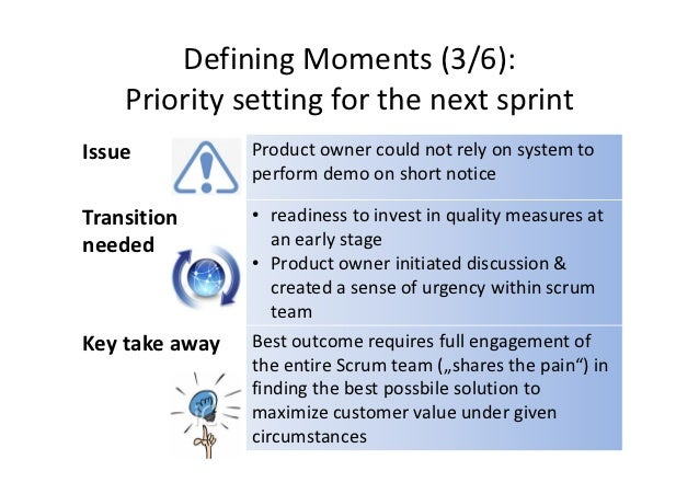Defining Moments (3/6):    Priority setting for the next sprintIssue           Product owner could not rely on system to  ...
