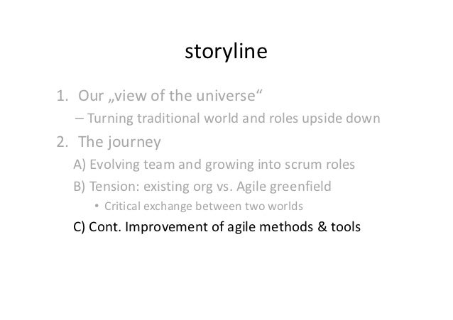 """storyline1. Our """"view of the universe""""  – Turning traditional world and roles upside down2. The journey  A) Evolving team ..."""