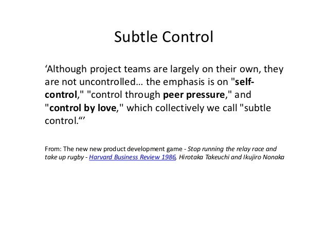 """Subtle Control'Although project teams are largely on their own, theyare not uncontrolled… the emphasis is on """"self-control..."""