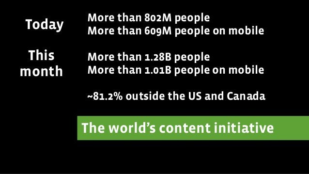 The world's content initiative ! More than 802M people More than 609M people on mobile ! More than 1.28B people More than ...