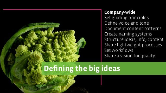 Defining the big ideas Company-wide Set guiding principles Define voice and tone Document content patterns Create naming sys...