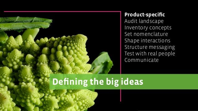 Defining the big ideas Product-specific Audit landscape Inventory concepts Set nomenclature Shape interactions Structure mes...
