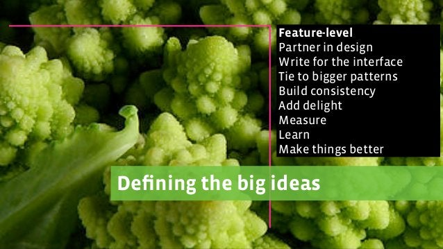 Defining the big ideas Feature-level Partner in design Write for the interface Tie to bigger patterns Build consistency Add...