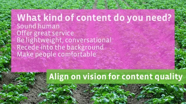 What kind of content do you need? Sound human Offer great service Be lightweight, conversational Recede into the backgroun...