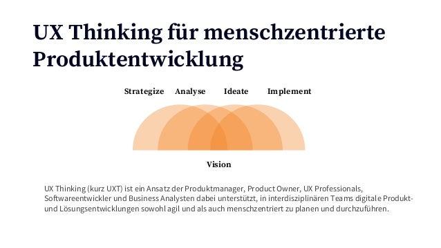 UX Thinking für menschzentrierte Produktentwicklung Strategize Analyse Ideate Implement Vision UX Thinking (kurz UXT) ist ...