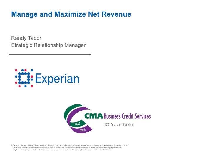 Manage and Maximize Net Revenue