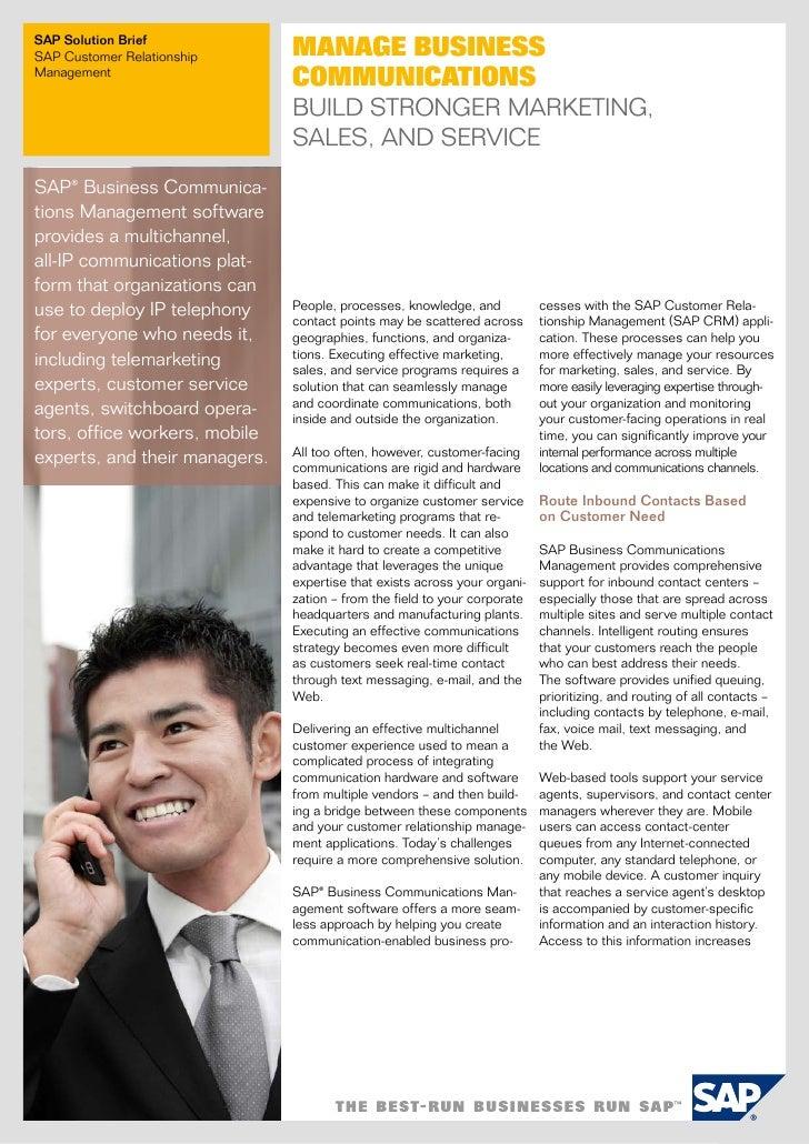 SAP Solution BriefSAP Customer Relationship      Manage BusinessManagement                               CoMMuniCations   ...
