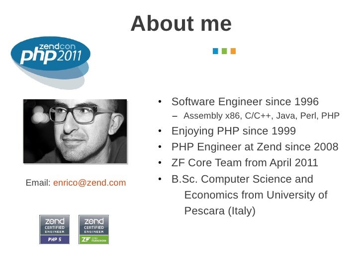 About me                                                        October 2011                           • Software Engineer...