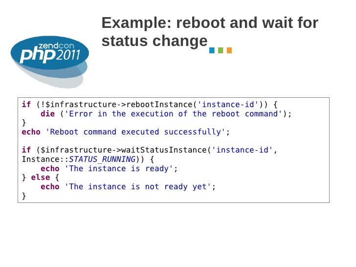 Example: reboot and wait for                status change                                                         October ...