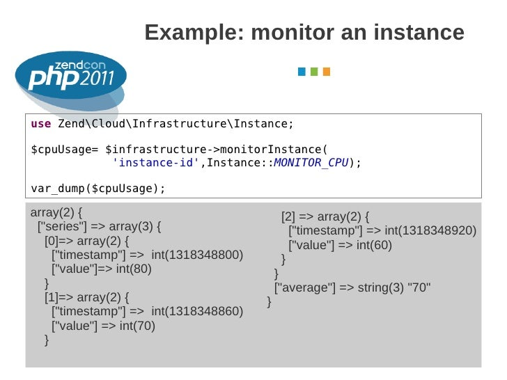 Example: monitor an instance                                                                  October 2011use ZendCloudInf...