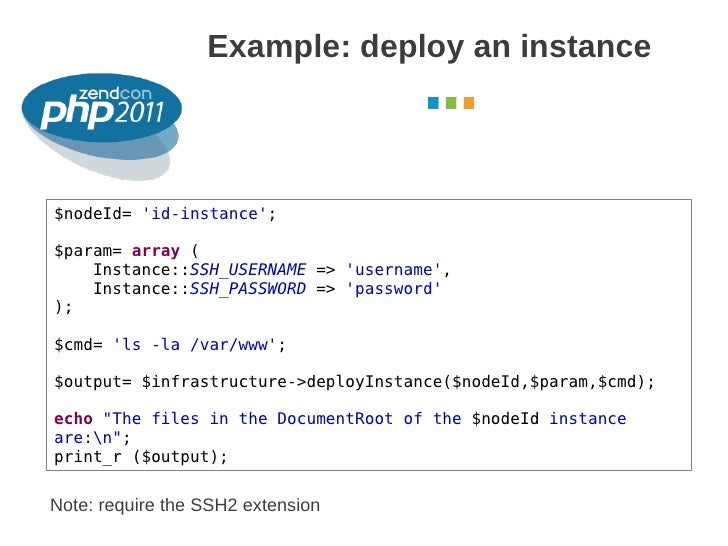 Example: deploy an instance                                                     October 2011$nodeId= id-instance;$param= a...