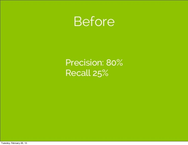 Before                           Precision: 80%                           Recall 25%Tuesday, February 26, 13