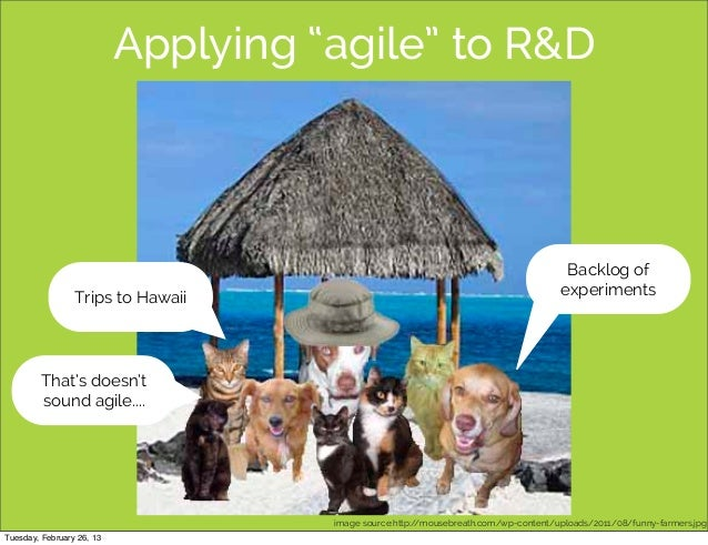 "Applying ""agile"" to R&D                                                                                      Backlog of   ..."