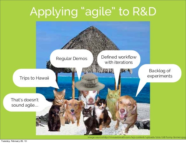 "Applying ""agile"" to R&D                                   Regular Demos              Defined workflow                       ..."