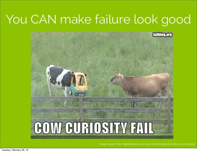 You CAN make failure look good                           image source: http://fightthebees.com/wp-content/uploads/2011/11/c...